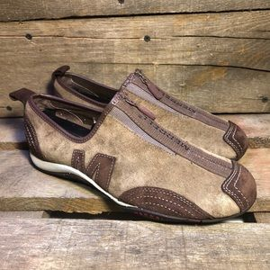 Merrell Barrado Mocha Leather Suede Zip Up Shoes